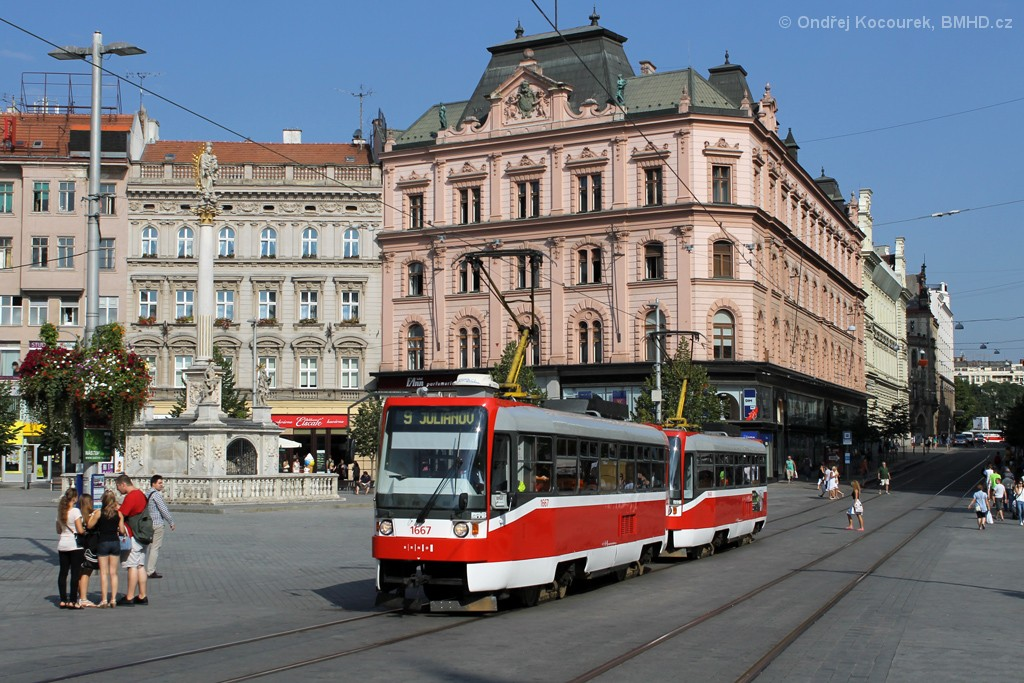 Fotogalerie » ČKD DS T3R 1667 | ČKD DS T3R 1668 | Brno | střed | náměstí Svobody
