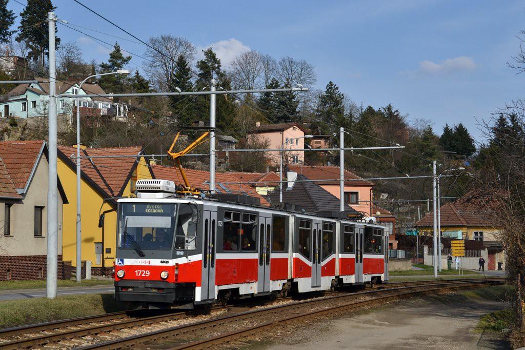 Fotogalerie » ČKD Tatra KT8D5N 1729   Brno   Komín   Bystrcká