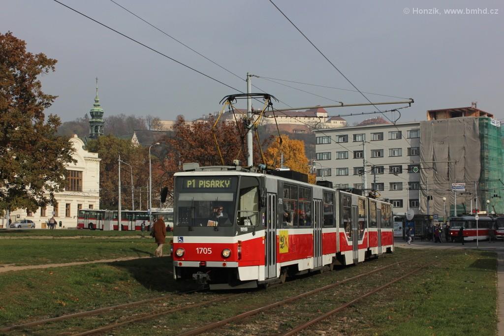 Fotogalerie » ČKD Tatra KT8D5R.N2 1705 | Brno | Staré Brno | Veletržní