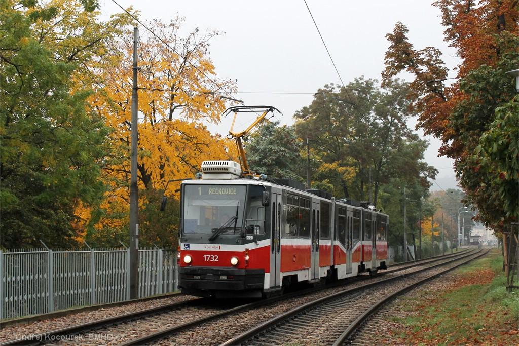 Fotogalerie » ČKD Tatra KT8D5N 1732 | Brno | Pisárky | Hlinky
