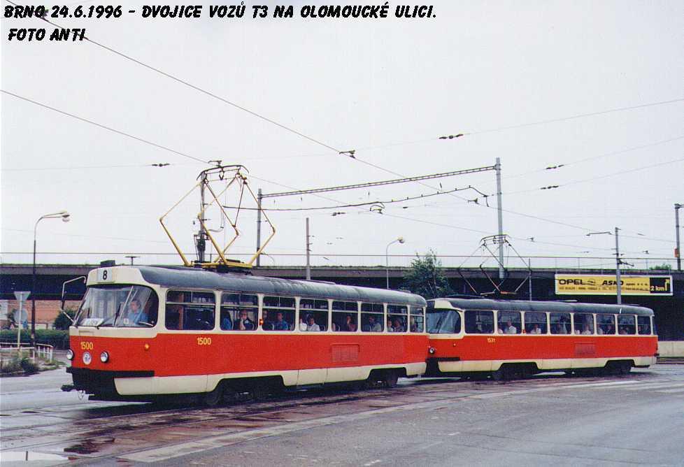 Fotogalerie » ČKD Tatra T3 1500 | ČKD Tatra T3 1531 | Brno | Černovice | Olomoucká