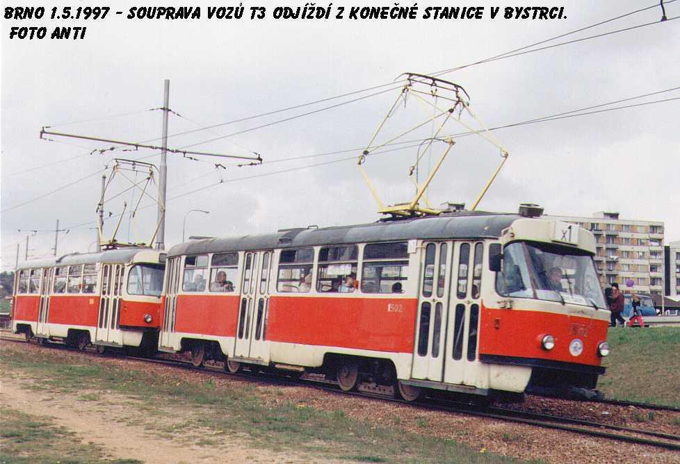 Fotogalerie » ČKD Tatra T3 1502 | ČKD Tatra T3 1506 | Brno | Bystrc