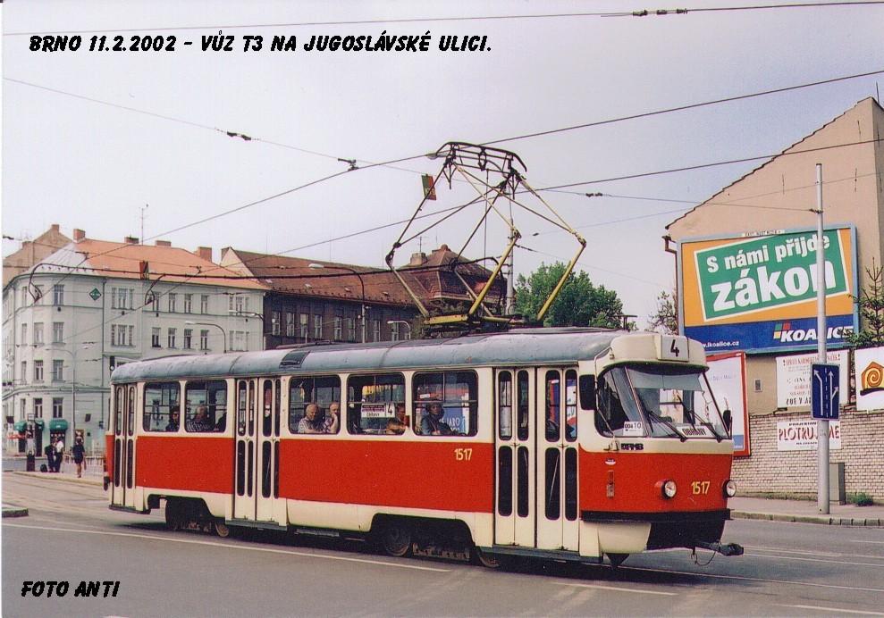 Fotogalerie » ČKD Tatra T3 1517 | Brno | Černá Pole | Jugoslávská