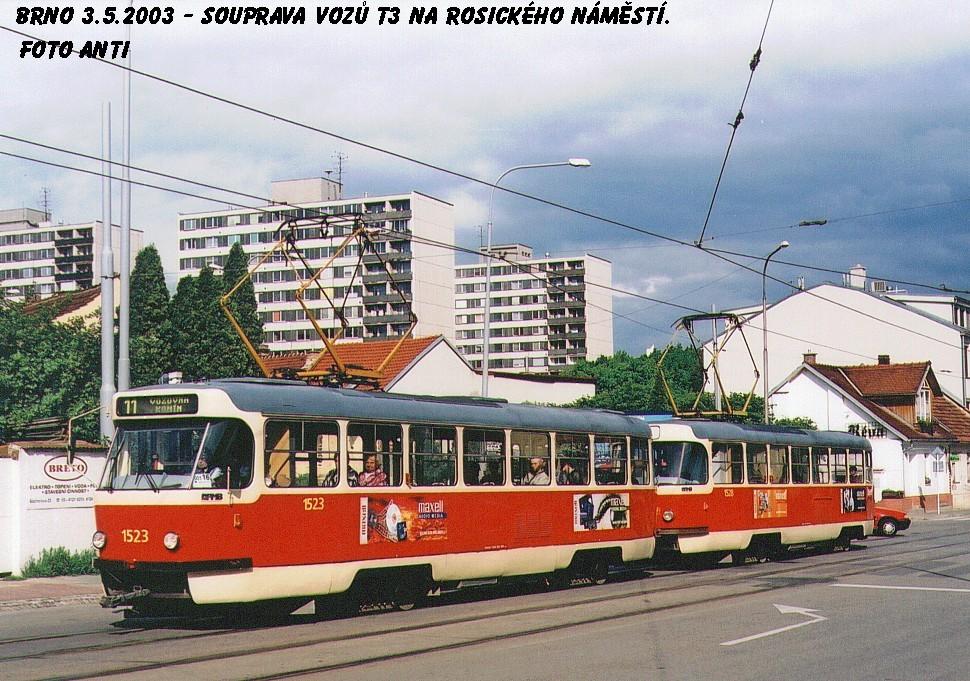 Fotogalerie » ČKD Tatra T3 1523 | ČKD Tatra T3 1528 | Brno | Žabovřesky | Rosického náměstí