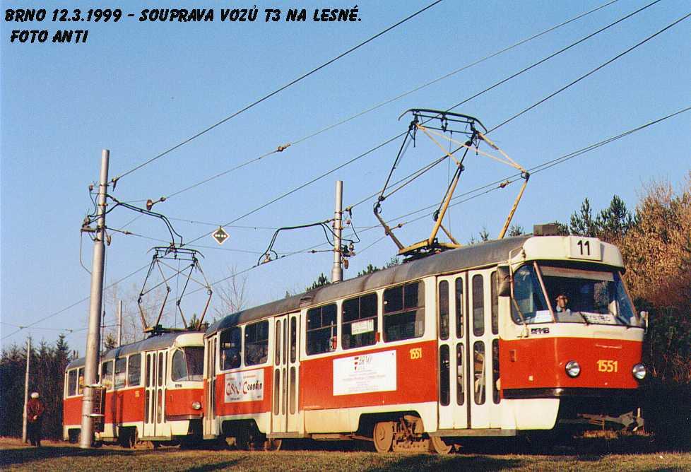 Fotogalerie » ČKD Tatra T3 1551 | ČKD Tatra T3 1552 | Brno | Lesná