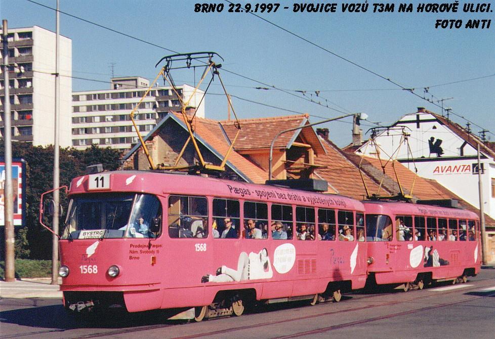 Fotogalerie » ČKD Tatra T3M 1568   ČKD Tatra T3M 1566   Brno   Žabovřesky   Horova