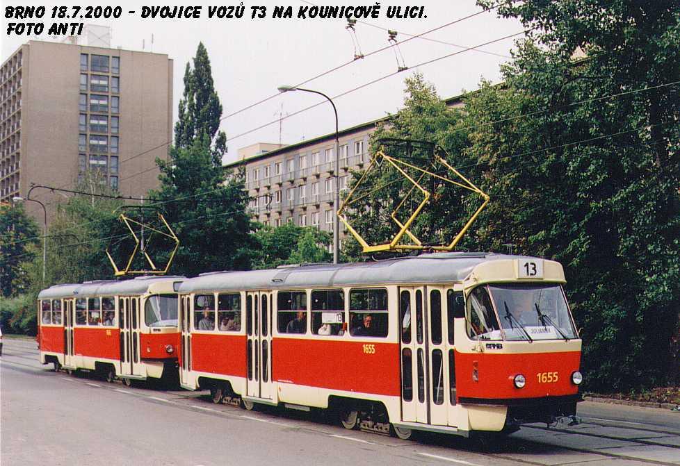 Fotogalerie » ČKD Tatra T3 1655   ČKD Tatra T3 1656   Brno   Královo Pole   Kounicova