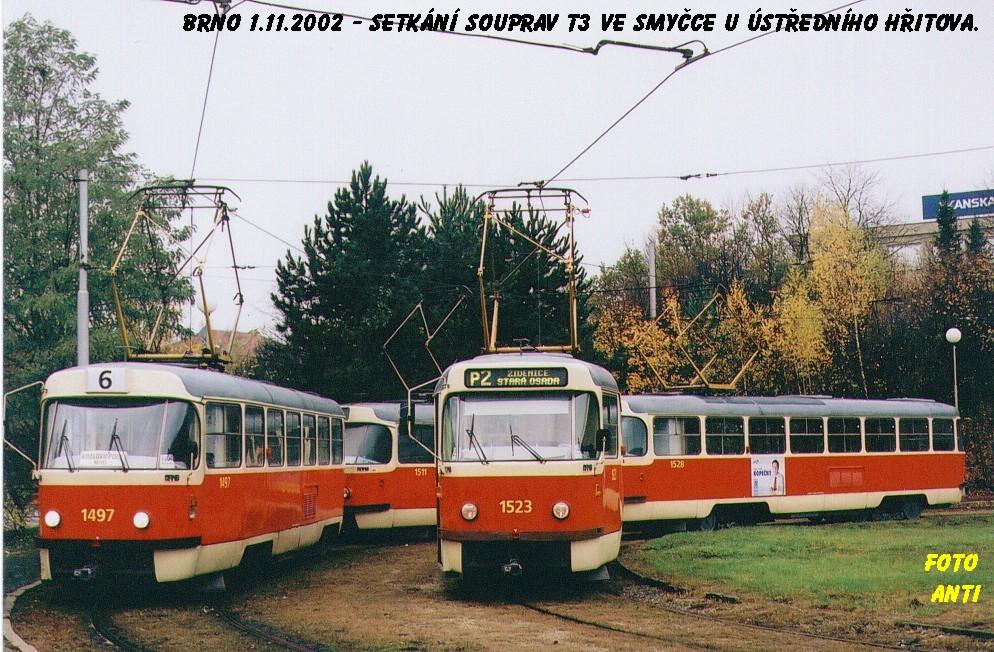 Fotogalerie » ČKD Tatra T3 1497 | ČKD Tatra T3 1511 | ČKD Tatra T3 1523 | ČKD Tatra T3 1528 | Brno | Horní Heršpice | Ústřední hřbitov, smyčka