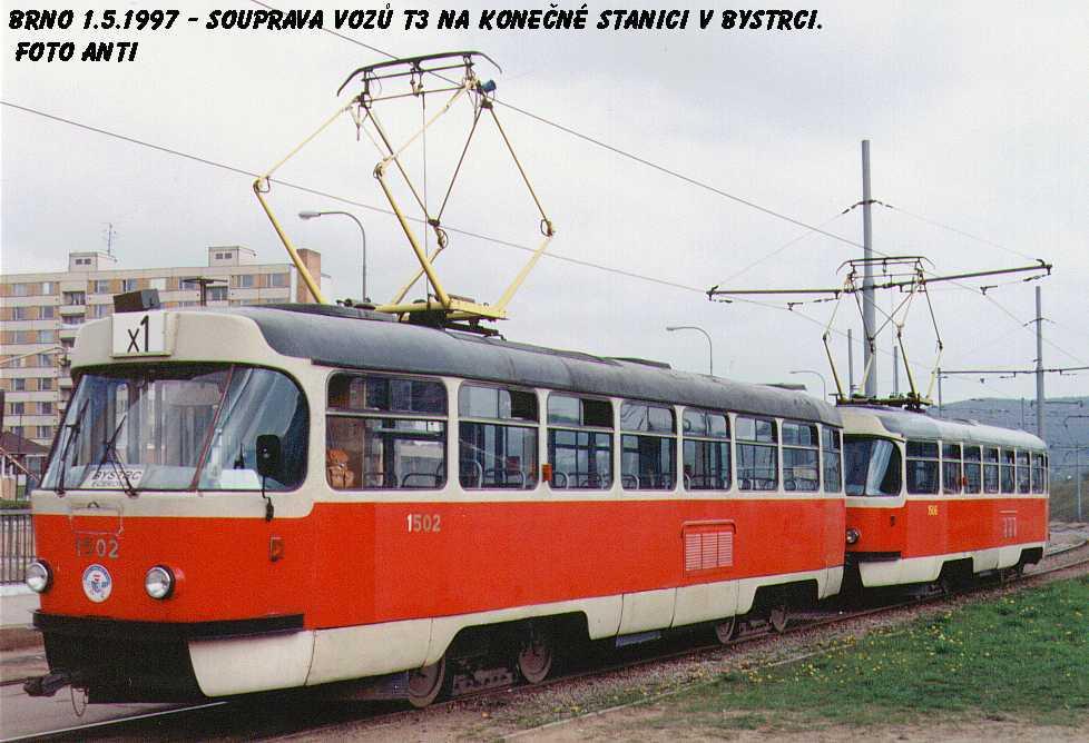 Fotogalerie » ČKD Tatra T3 1502 | ČKD Tatra T3 1506 | Brno | Bystrc | Ečerova, smyčka