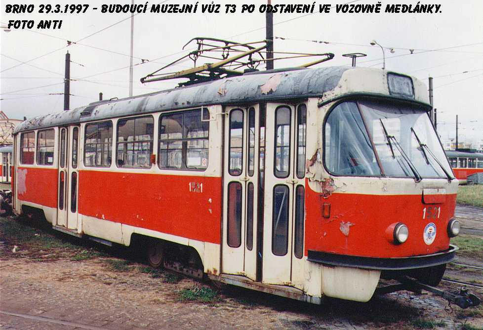 Fotogalerie » ČKD Tatra T3 1521   Brno   Medlánky   Vozovna Medlánky