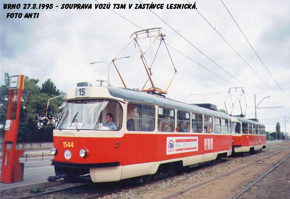 Fotogalerie » ČKD Tatra T3M 1544 | Brno | Černá Pole | třída Generála Píky | Lesnická