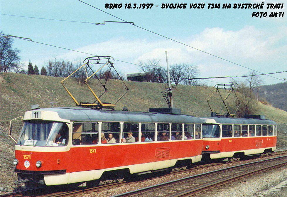 Fotogalerie » ČKD Tatra T3M 1571 | ČKD Tatra T3M 1601 | Brno | Bystrc