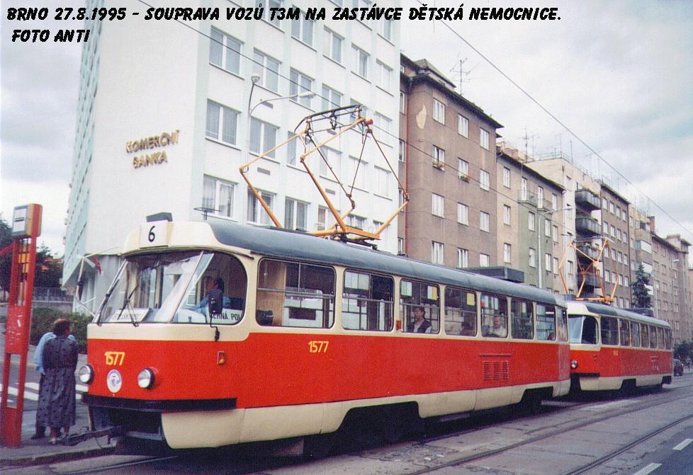 Fotogalerie » ČKD Tatra T3M 1577 | Brno | Černá pole | Milady Horákové | Dětská nemocnice