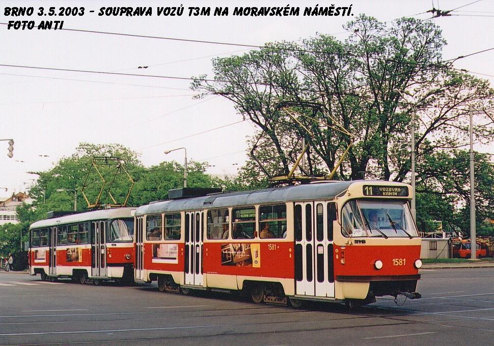 Fotogalerie » ČKD Tatra T3M 1581 | ČKD Tatra T3M 1582 | Brno | střed | Moravské náměstí