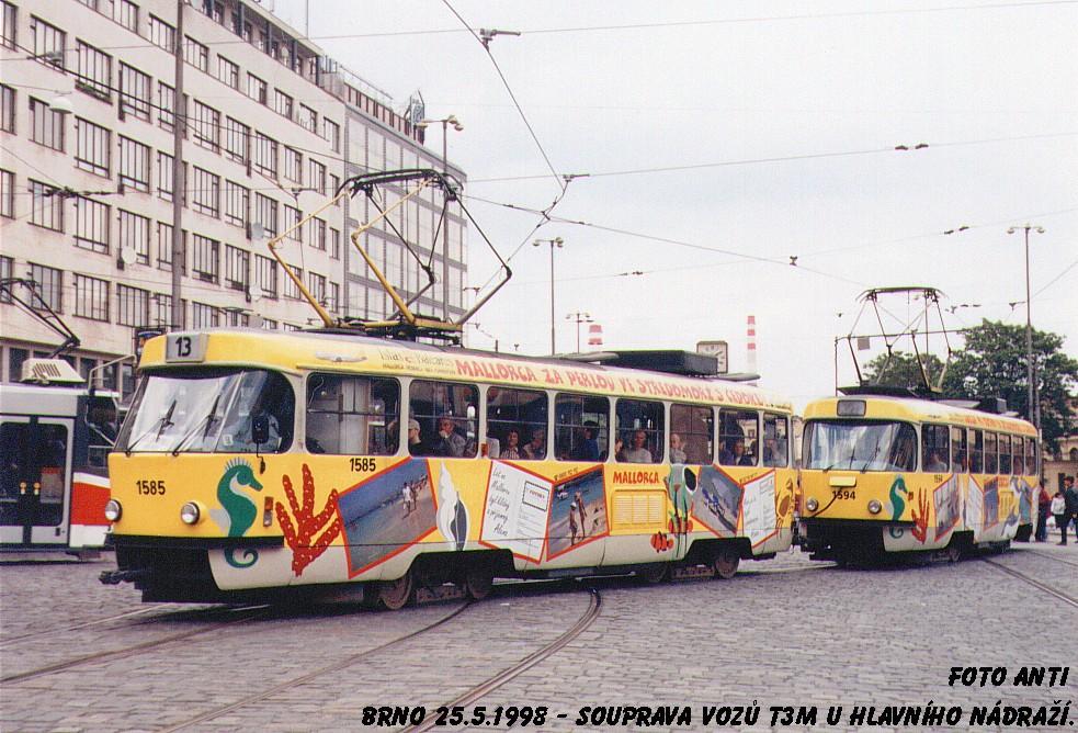 Fotogalerie » ČKD Tatra T3M 1585 | ČKD Tatra T3M 1594 | Brno | střed | Nádražní | Hlavní nádraží