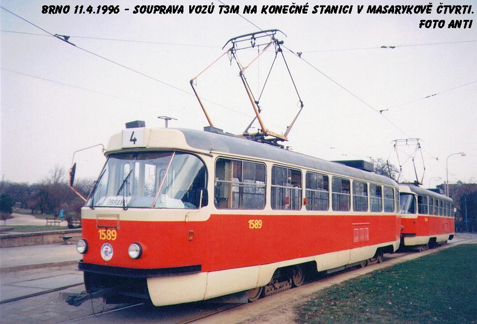 Fotogalerie » ČKD Tatra T3M 1589   Brno   Masarykova čtvrť   Náměstí míru   Náměstí Míru, smyčka