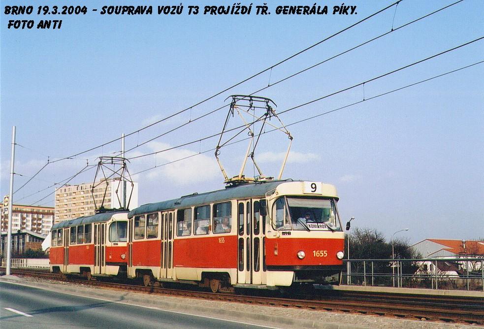 Fotogalerie » ČKD Tatra T3 1655 | ČKD Tatra T3 1656 | Brno | Lesná | třída Generála Píky
