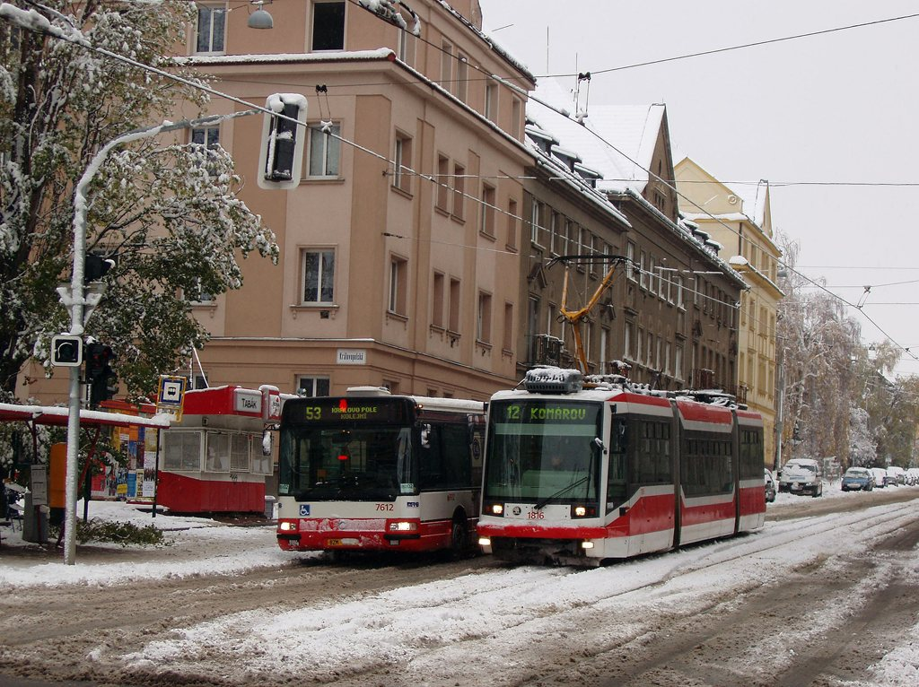 Fotogalerie » Škoda 03T6 1816 | Irisbus Citybus 12M 2071.30 7612 | Brno | Královo Pole | Purkyňova | Skácelova