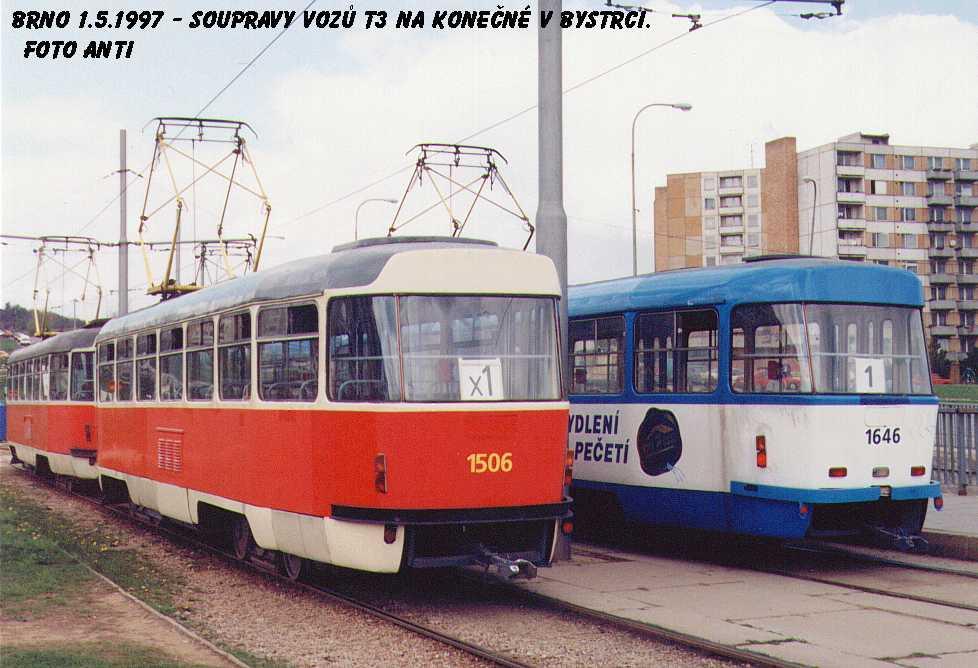 Fotogalerie » ČKD Tatra T3 1506 | ČKD Tatra T3G 1646 | Brno | Bystrc | Ečerova, smyčka