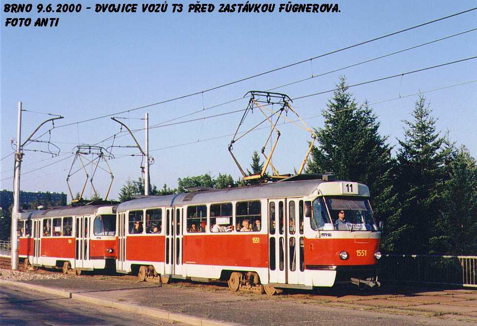 Fotogalerie » ČKD Tatra T3 1551 | ČKD Tatra T3 1552 | Brno | Lesná | třída Generála Píky