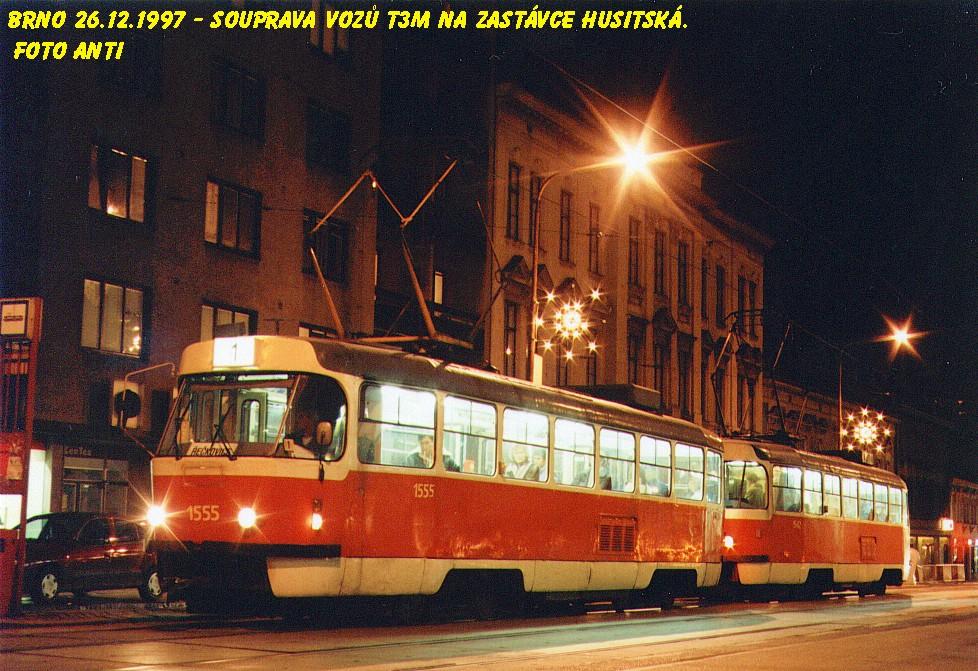 Fotogalerie » ČKD Tatra T3M 1555 | ČKD Tatra T3M 1542 | Brno | Královo Pole | Palackého | Husitská