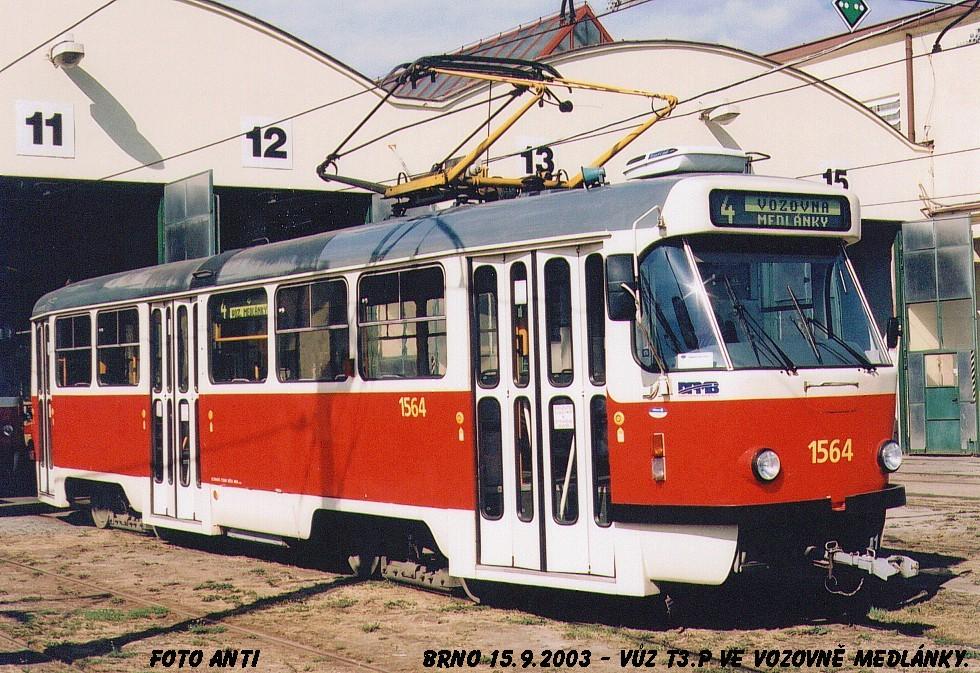 Fotogalerie » ČKD Tatra T3P 1564 | Brno | vozovna Medlánky