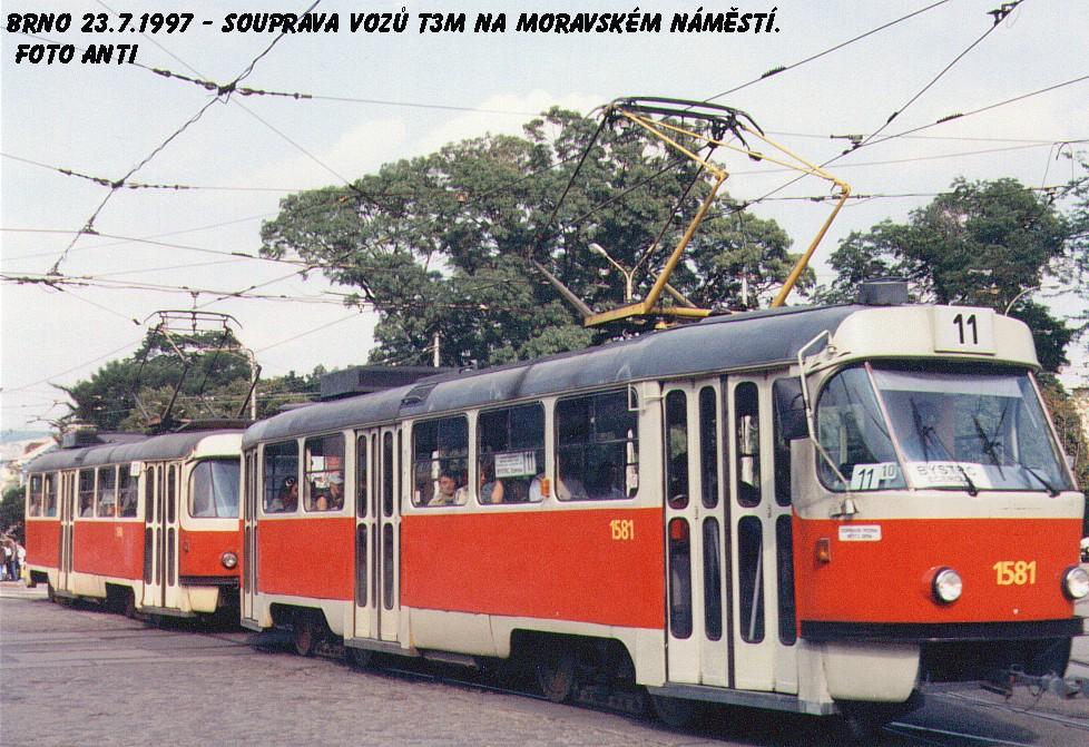 Fotogalerie » ČKD Tatra T3M 1581   Brno   střed   Moravské náměstí