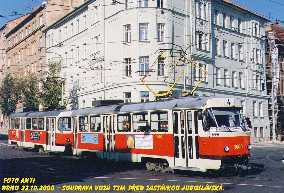 Fotogalerie » ČKD Tatra T3M 1600 | Brno | Černá Pole | Jugoslávská