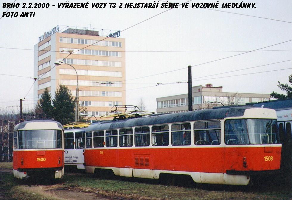 Fotogalerie » ČKD Tatra T3 1500 | ČKD Tatra T3 1508 | Brno | vozovna Medlánky