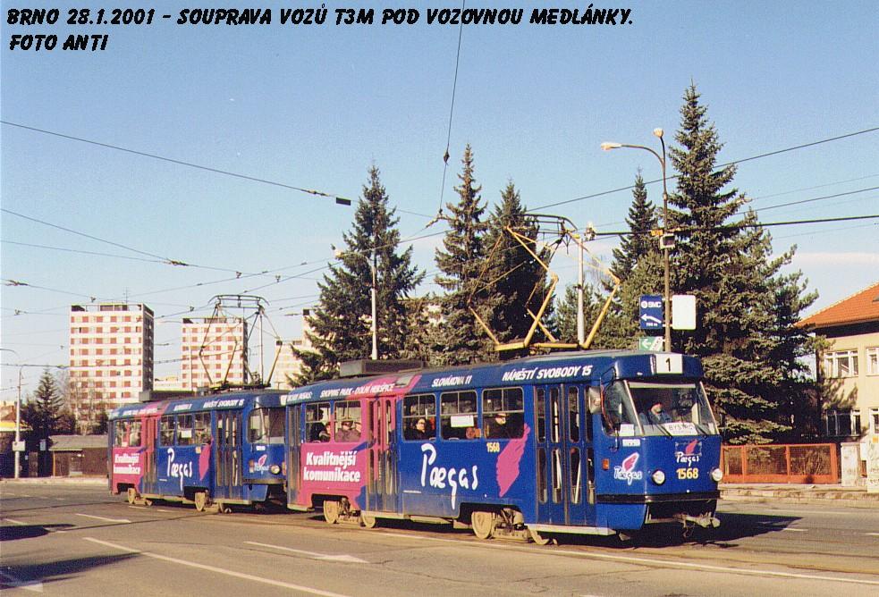 Fotogalerie » ČKD Tatra T3M 1568 | ČKD Tatra T3M 1566 | Brno | Medlánky | Kuřimská