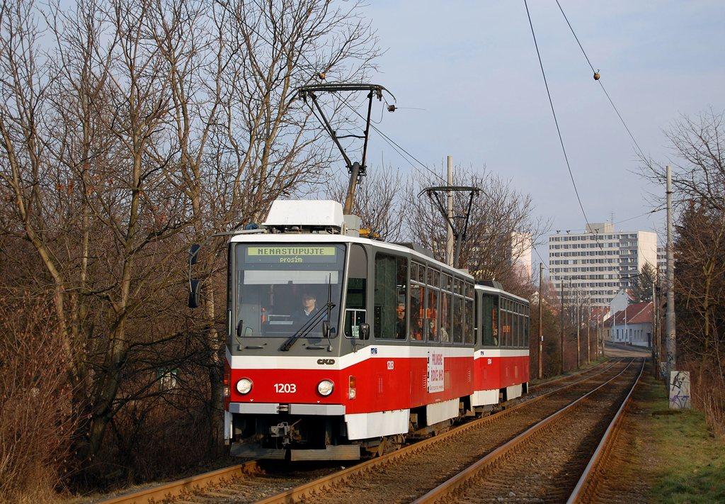 Fotogalerie » ČKD DS T6A5 1203 | ČKD DS T6A5 1204 | Brno | Žabovřesky