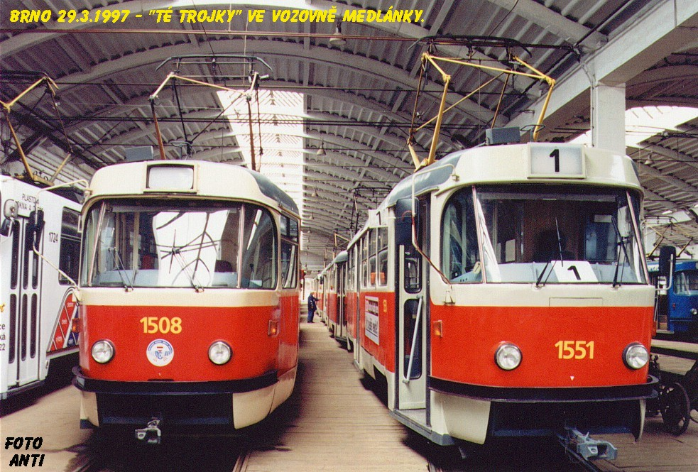 Fotogalerie » ČKD Tatra T3 1508 | ČKD Tatra T3 1551 | Brno | Medlánky | Vozovna Medlánky