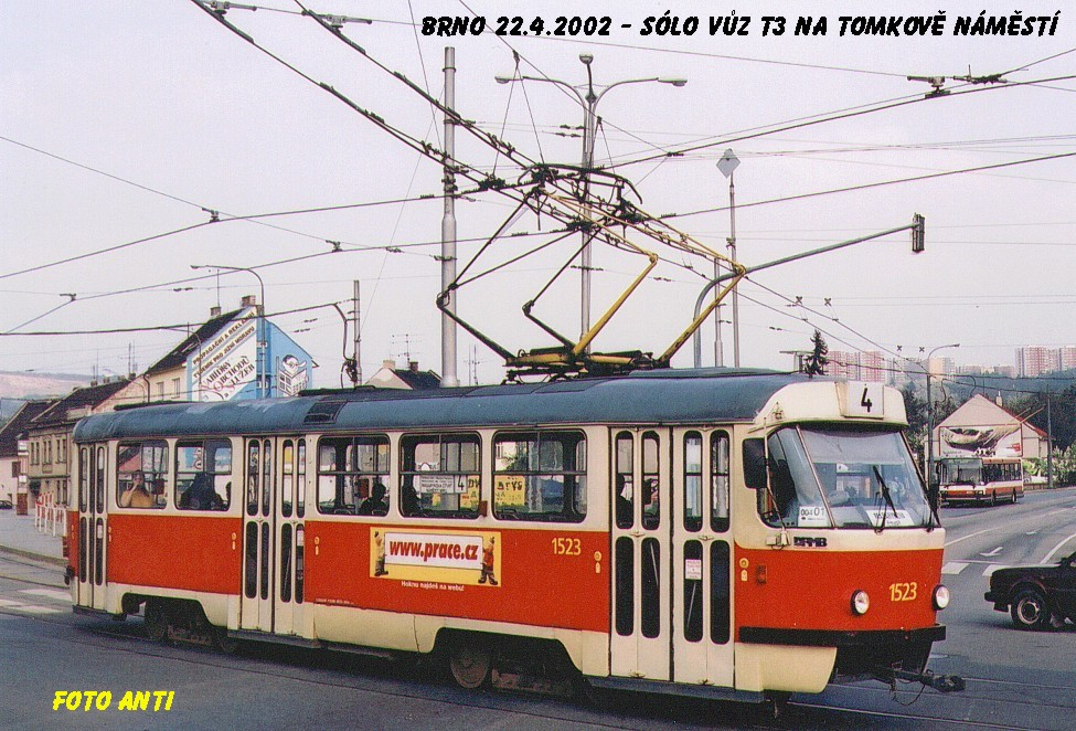 Fotogalerie » ČKD Tatra T3 1523 | Brno | Husovice | Tomkovo náměstí
