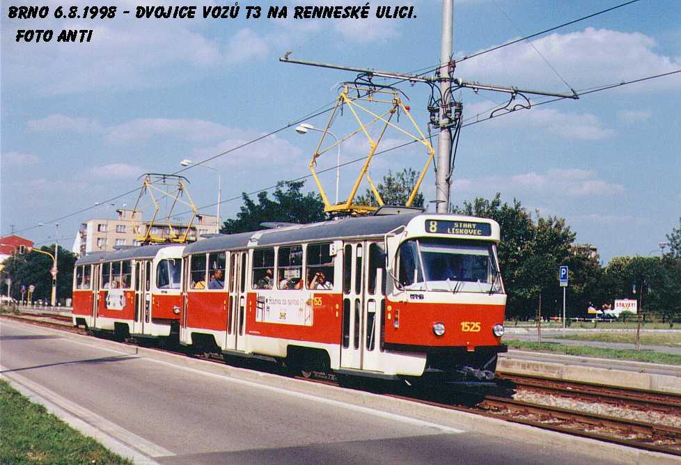 Fotogalerie » ČKD Tatra T3 1525 | Brno | Štýřice | Renneská