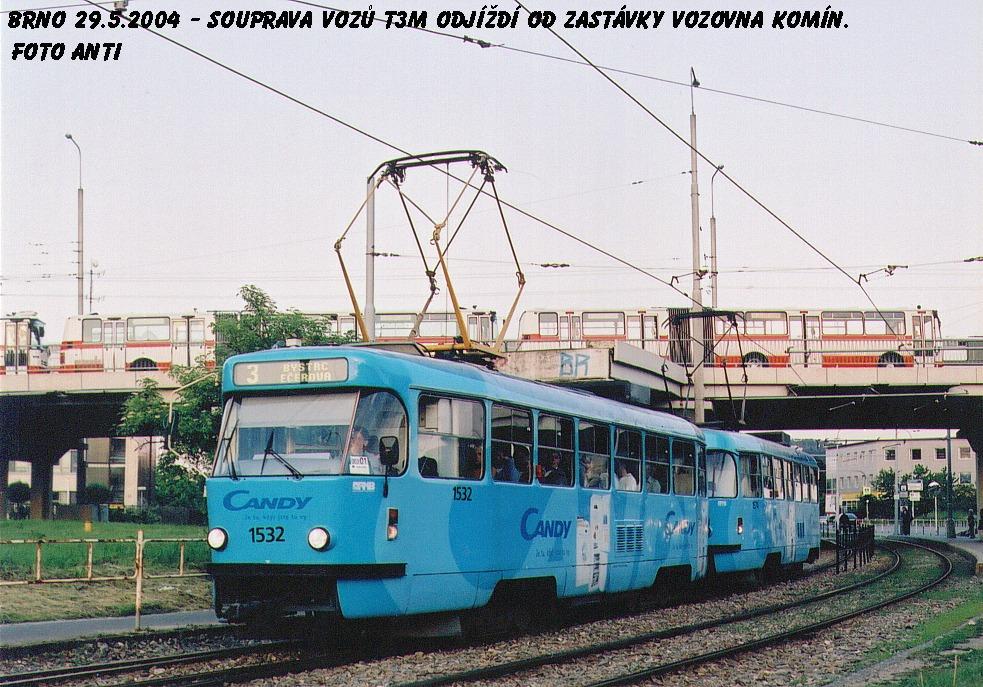 Fotogalerie » ČKD Tatra T3M 1532 | ČKD Tatra T3M 1574 | Brno | Komín | Kníničská