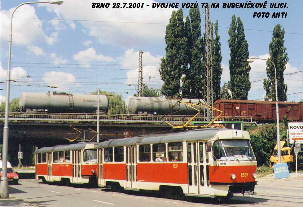 Fotogalerie » ČKD Tatra T3 1537 | ČKD Tatra T3 1548 | Brno | Židenice | Bubeníčkova
