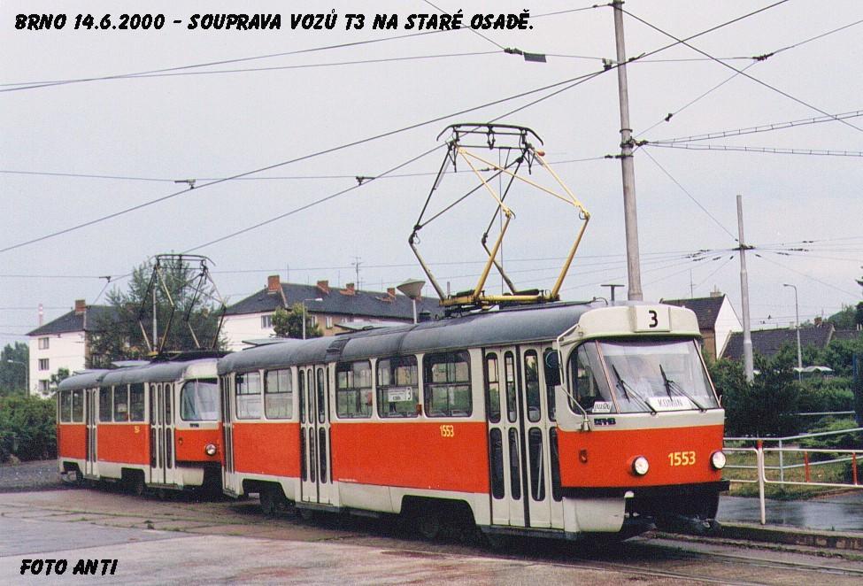 Fotogalerie » ČKD Tatra T3 1553 | ČKD Tatra T3 1554 | Brno | Židenice | Stará osada | Stará osada, smyčka