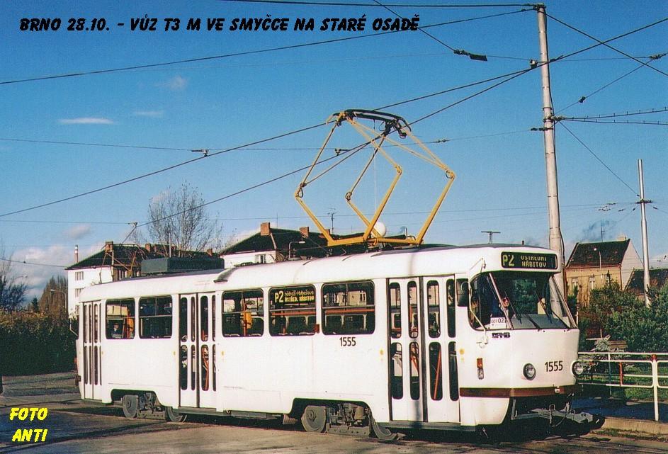Fotogalerie » ČKD Tatra T3M 1555   Brno   Židenice   Stará osada   Stará osada, smyčka