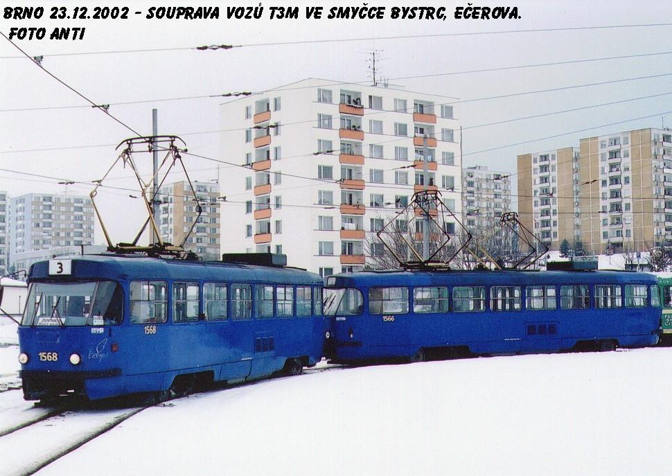 Fotogalerie » ČKD Tatra T3M 1568 | ČKD Tatra T3M 1566 | Brno | Bystrc | Ečerova, smyčka