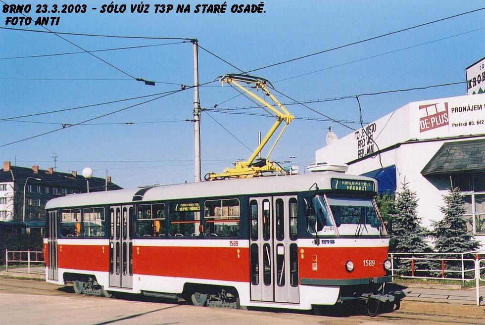 Fotogalerie » ČKD Tatra T3P 1589   Brno   Židenice   Stará osada   Stará osada, smyčka