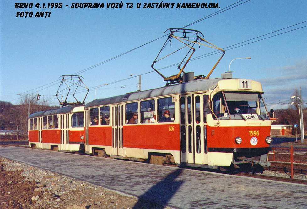 Fotogalerie » ČKD Tatra T3 1596   Brno   Komín   Kníničská   Kamenolom
