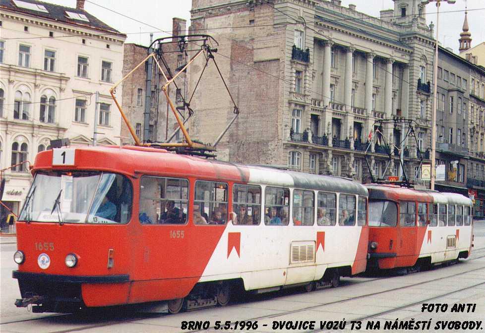 Fotogalerie » ČKD Tatra T3 1655 | ČKD Tatra T3 1656 | Brno | střed | náměstí Svobody | Náměstí Svobody