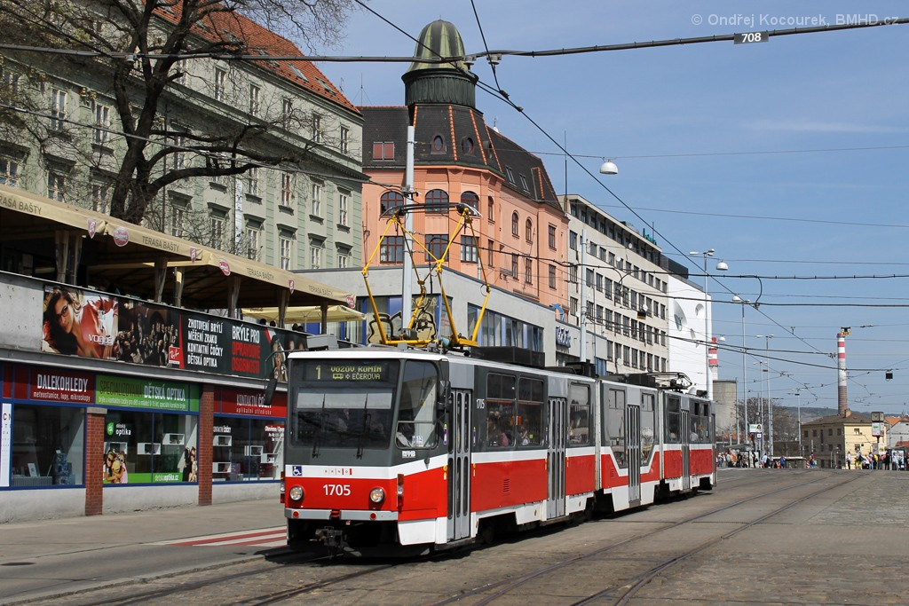 Fotogalerie » ČKD Tatra KT8D5R.N2 1705 | Brno | střed | Nádražní