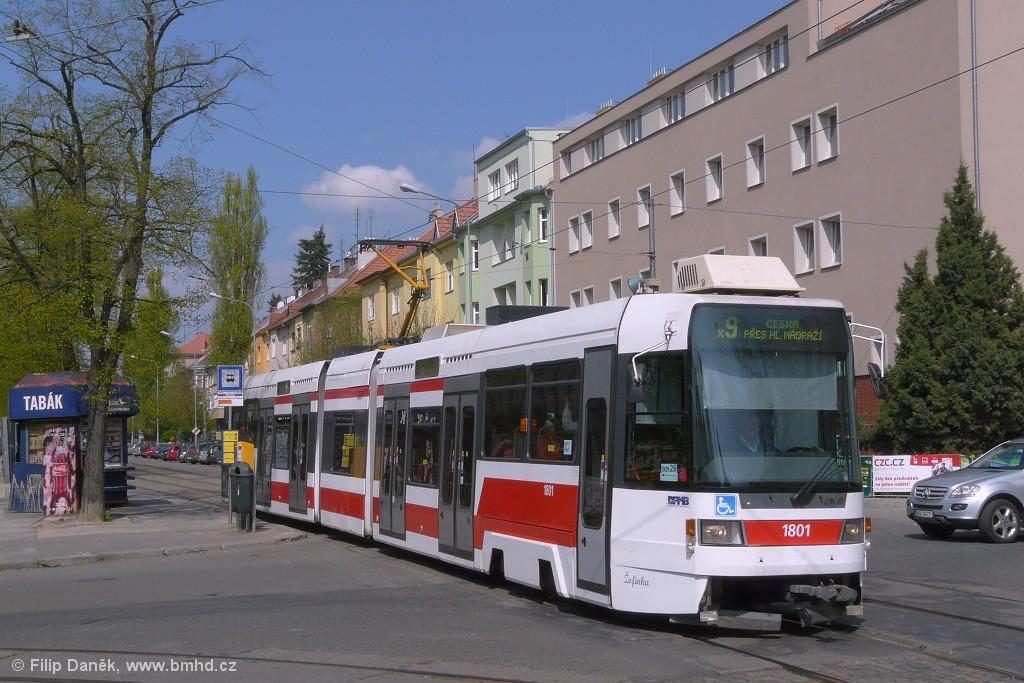 Fotogalerie » ČKD DS RT6N1 1801 | Brno | Černá Pole | Lesnická | Zemědělská