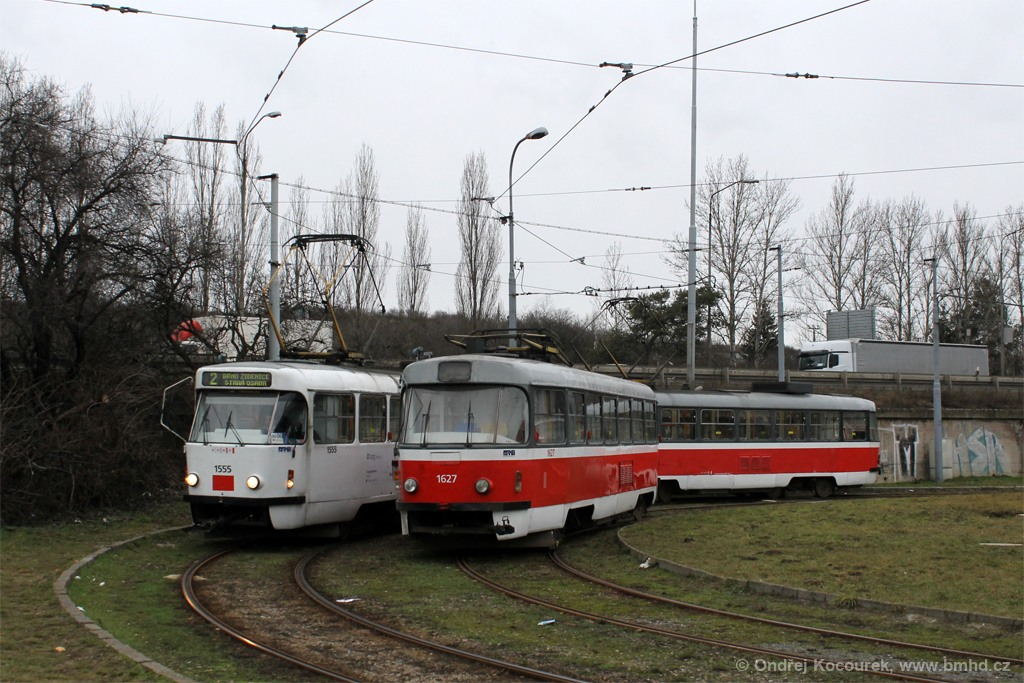 Fotogalerie » ČKD Tatra T3M 1555 | ČKD Tatra T3M 1582 | ČKD Tatra T3T 1627 | Modřice | Brněnská | Modřice, smyčka