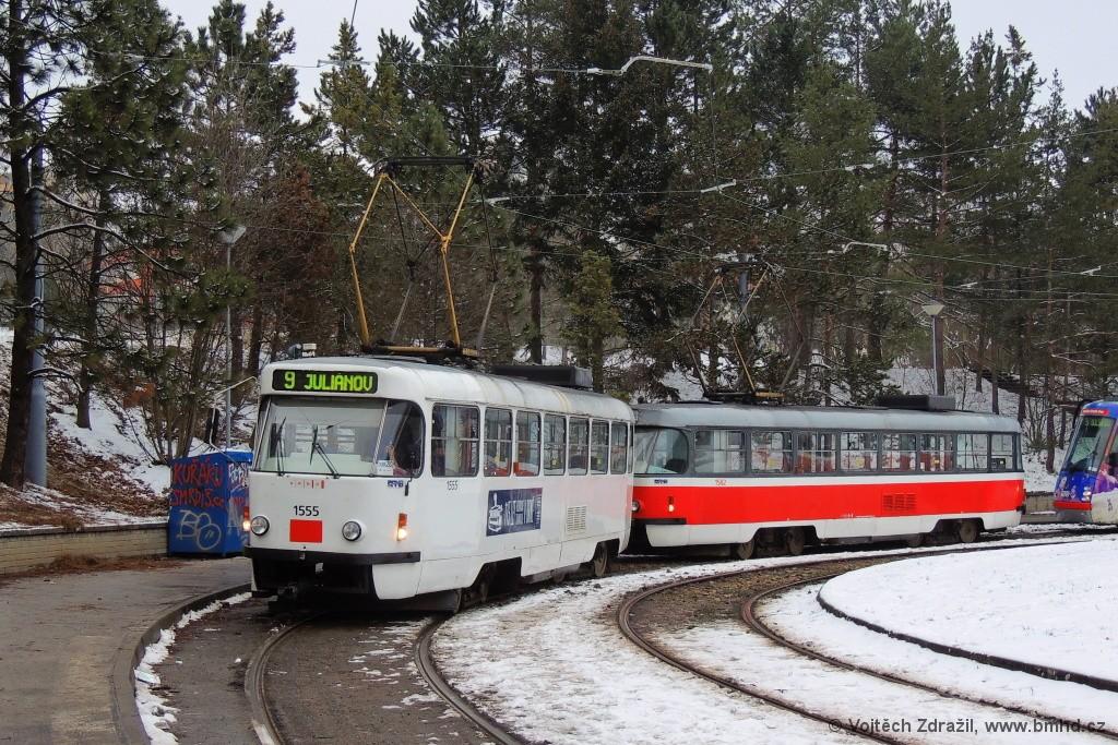 Fotogalerie » ČKD Tatra T3M 1555 | Brno | Lesná | Lesná, Čertova rokle