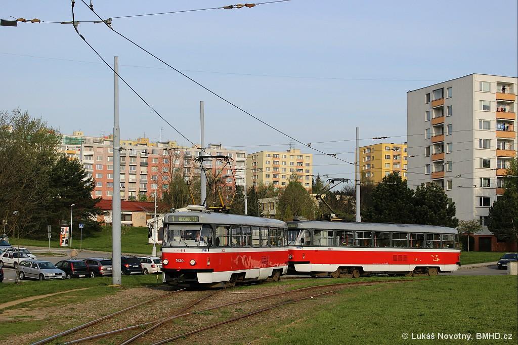 Fotogalerie » ČKD Tatra T3P 1620 | ČKD Tatra T3P 1589 | Brno | Bystrc | Ečerova, smyčka