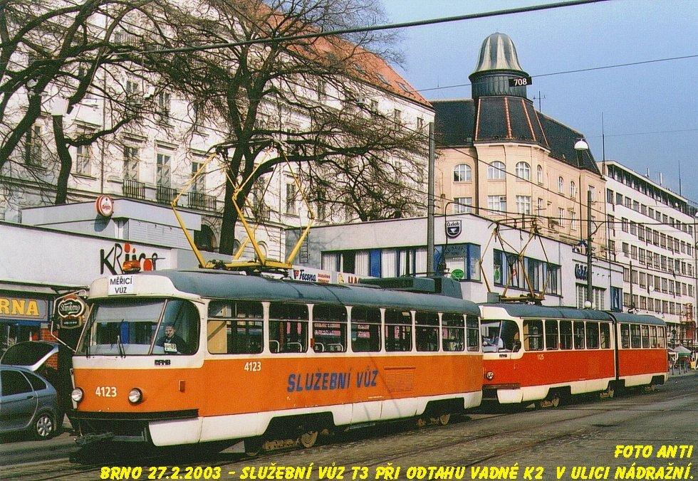 Fotogalerie » ČKD Tatra T3 služební 4123 | ČKD Tatra K2YU 1125 | Brno | střed | Nádražní