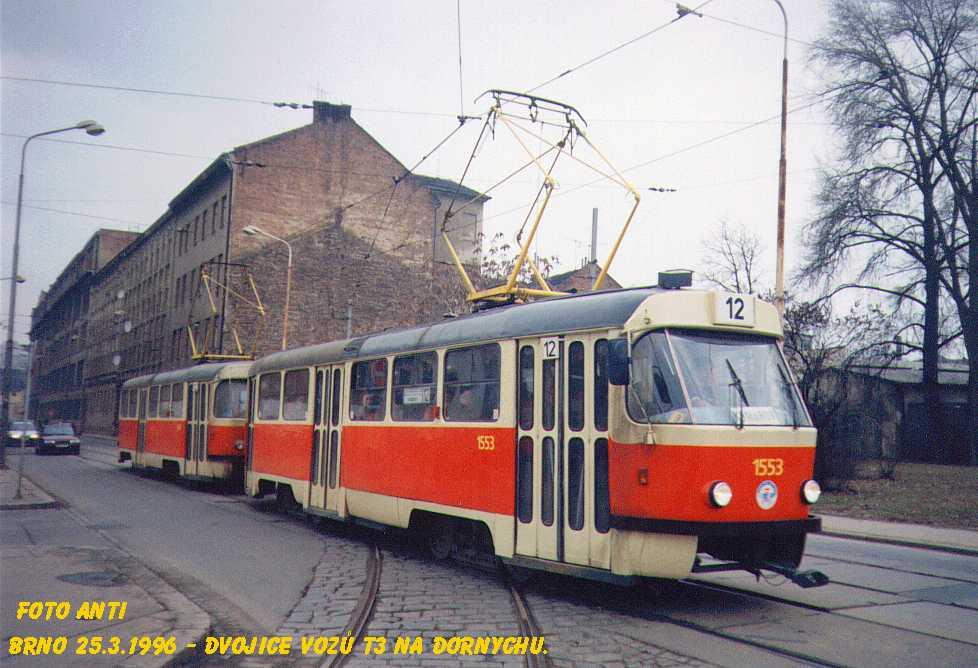 Fotogalerie » ČKD Tatra T3 1553 | ČKD Tatra T3 1554 | Brno | Trnitá | Dornych