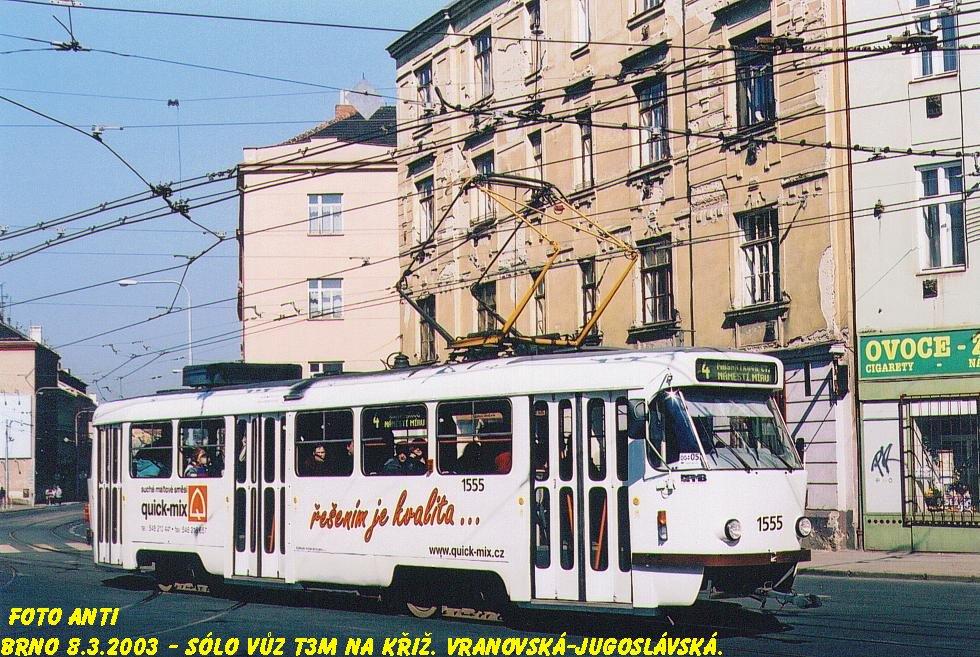 Fotogalerie » ČKD Tatra T3M 1555 | Brno | Zábrdovice | Vranovská